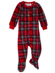 Baby And Toddler Girls Mommy And Me Plaid Velour Matching One Piece Pajamas