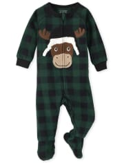 Unisex Baby And Toddler Matching Family Moose Buffalo Plaid Fleece One Piece Pajamas