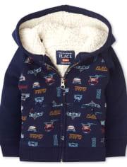 Toddler Boys Transportation Sherpa Zip Up Hoodie
