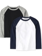 Baby And Toddler Boys Raglan Top 2-Pack