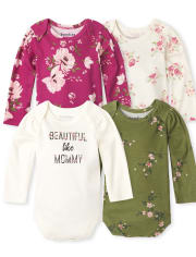 Baby Girls Floral Bodysuit 4-Pack