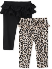 Baby Girls Leopard Pants 2-Pack
