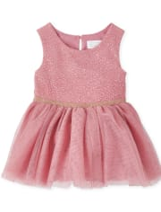Baby Girls Foil Knit To Woven Dress