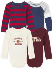 Baby Boys Varsity Bodysuit 4-Pack