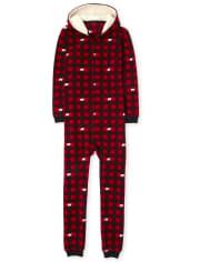Unisex Adult Matching Family Bear Buffalo Plaid Fleece One Piece Pajamas