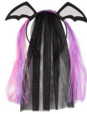 Girls Halloween Bat Veil Headband