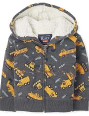 Toddler Boys Print Sherpa Zip Up Hoodie