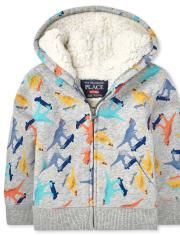 Sweat à capuche zippé en sherpa imprimé pour tout-petit garçon