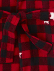Unisex Kids Matching Family Bear Buffalo Plaid Fleece Robe
