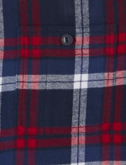 Mens Matching Family Plaid Flannel Button Down Shirt