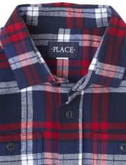 Camisa con botones de franela a cuadros de la familia a juego para niños