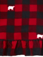 Girls Matching Family Bear Buffalo Plaid Fleece Nightgown