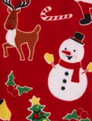 Unisex Kids Matching Family Christmas Crew Snug Fit Cotton And Fleece Pajamas