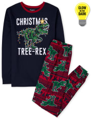 Mens Dad And Me Glow Christmas Tree-Rex Cotton Pajamas