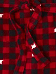 Bata de lana a cuadros de búfalo de oso familiar a juego unisex para adultos