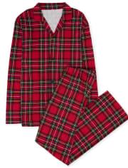 Pijama de algodón de tartán familiar a juego unisex para adultos