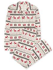 Unisex Adult Matching Family Reindeer Fairisle Cotton Pajamas