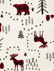 Pijama de algodón de bosque de invierno familiar a juego unisex para adultos