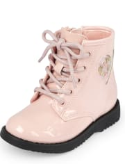 Toddler Girls Shakey Heart Lace Up Booties