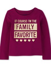 Baby And Toddler Girls Glitter Family Favorite Graphic Tee