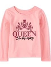 Baby And Toddler Girls Glitter Queen Like Mommy Graphic Tee