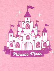 Baby And Toddler Girls Glitter Castle Graphic Tee