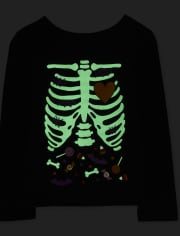 Baby And Toddler Girls Mommy And Me Halloween Glow Candy Skeleton Matching Graphic Tee