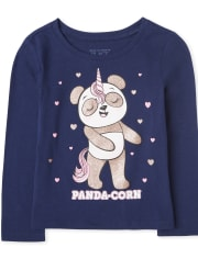 Baby And Toddler Girls Glitter Pandacorn Graphic Tee