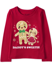 Baby And Toddler Girls Christmas Glitter Daddy's Sweetie Graphic Tee