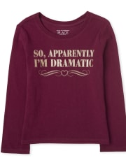 Baby And Toddler Girls Dramatic Graphic Tee