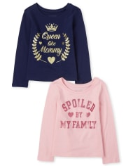 Baby And Toddler Girls Family Graphic Tee 2-Pack