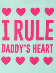 Baby And Toddler Girls Daddy's Heart Graphic Tee