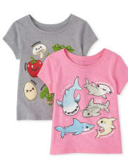 Baby And Toddler Girls Veggie Shark Graphic Tee 2-Pack