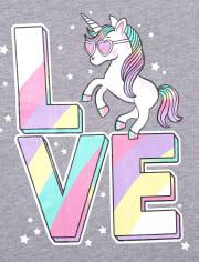 Baby And Toddler Girls Love Unicorn Graphic Tee