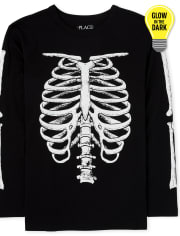 Boys Dad And Me Halloween Glow Skeleton Matching Graphic Tee