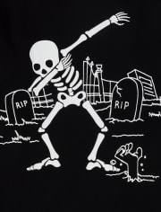 Boys Halloween Glow Dancing Skeleton Graphic Tee