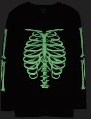 Dad And Me Halloween Glow Skeleton Camiseta gráfica a juego para hombre