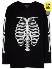 Mens Dad And Me Halloween Glow Skeleton Matching Graphic Tee