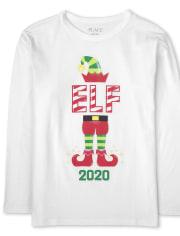 Camiseta con gráfico de elfo navideño familiar a juego para niños