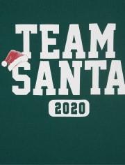 Camiseta unisex con gráfico de Santa del equipo de Navidad de la familia a juego para adultos