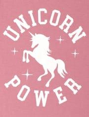 Girls Glitter Unicorn Power Graphic Tee