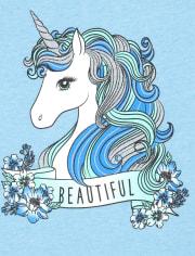Girls Beautiful Unicorn Graphic Tee