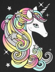 Girls Glitter Rainbow Unicorn Graphic Tee