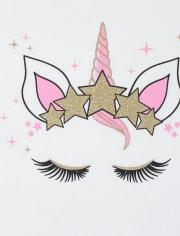Girls Glitter Unicorn Graphic Tee 2-Pack
