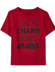 Camiseta estampada con encanto y cerebro para bebés y niños pequeños