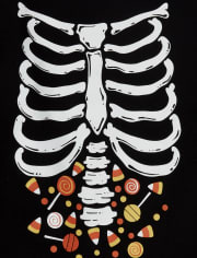 Baby And Toddler Boys Halloween Glow Candy Skeleton Graphic Tee