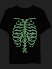 Boys Halloween Glow Skeleton Matching Graphic Tee