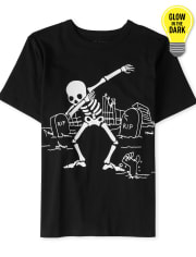 Boys Halloween Glow Dancing Skeleton Graphic Tee