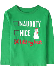 Baby And Toddler Boys Christmas Nice List Graphic Tee