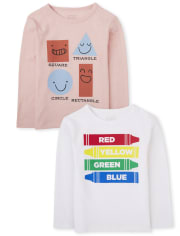Baby And Toddler Boys Shapes And Colors Graphic Tee 2-Pack